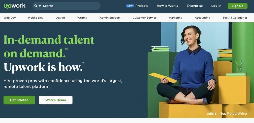 Best outsourcing websites number 2 - Upwork client-side homepage freelancer and client sign up