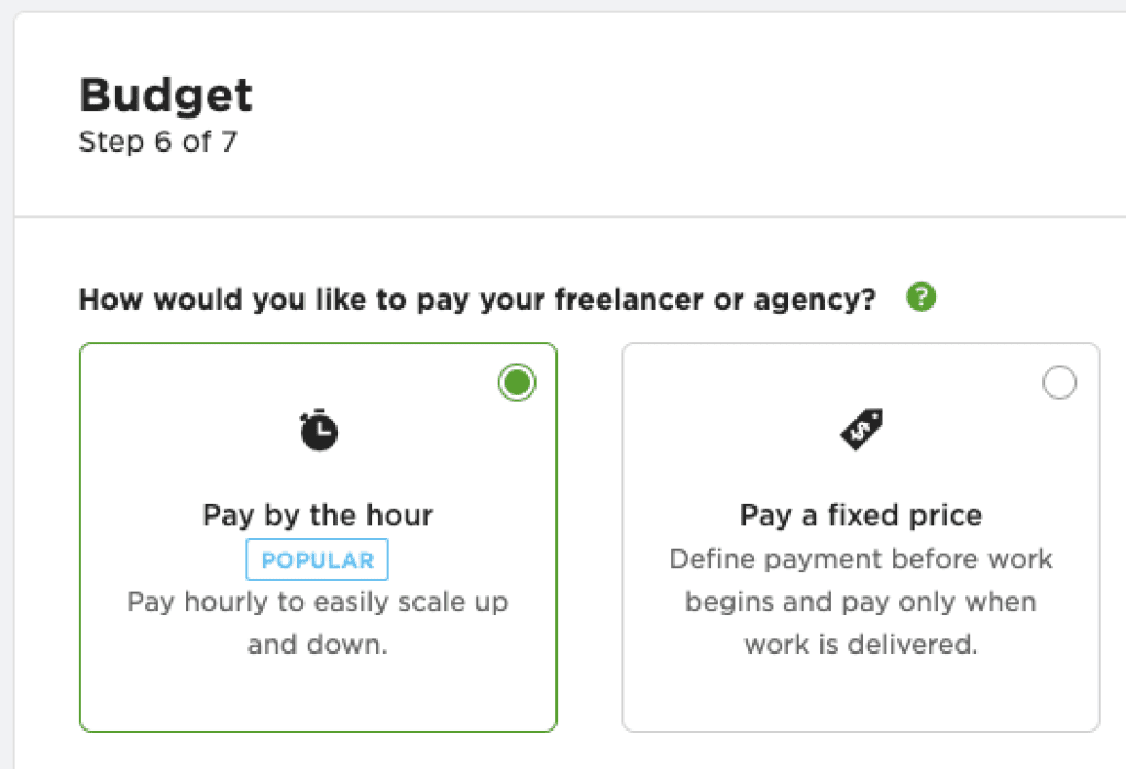 Upwork hourly pay rate over fixed price - choice from best outsourcing websites