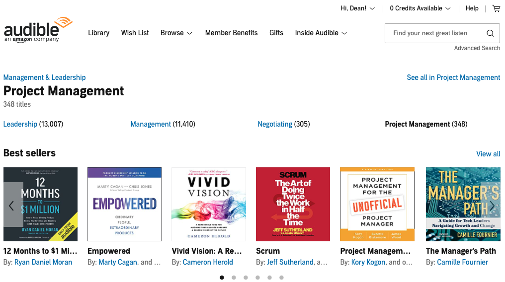 Audible audiobooks management and leadership category
