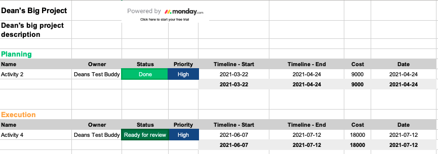 Monday - Export to Excel for Custom Data Manipulation