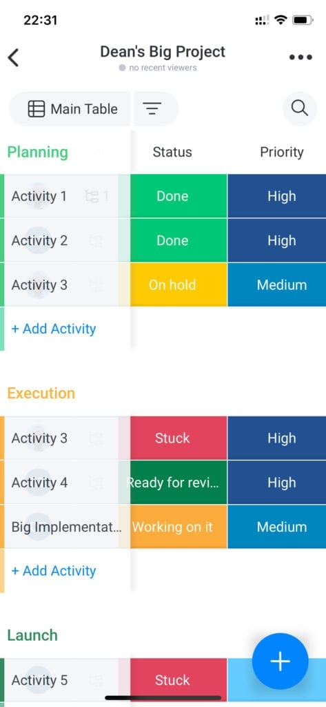 Monday - Collaborative Work Management Mobile App iOS - Project Board