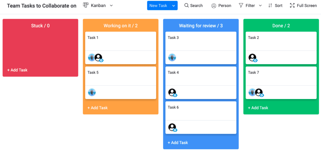 Monday - collaborative work management systems offer different views for tasks, such as a kanban board