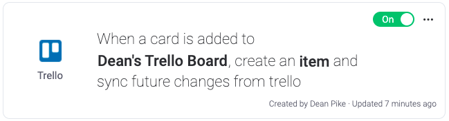 Monday - Third-Party Integration Rules and Settings for Trello Board
