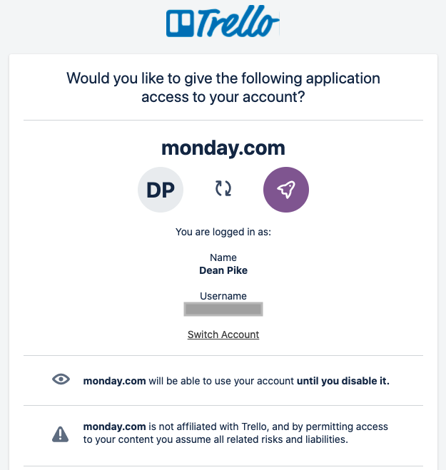 Monday - collaborative work management tool and third-party integration with Trello board