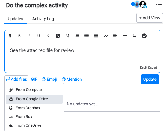 Monday - Uploading Files to a Task Activity