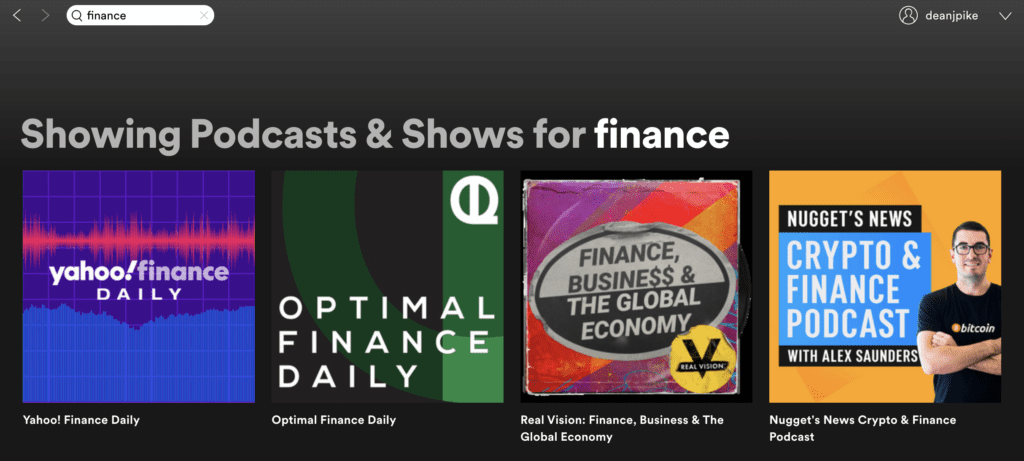 Spotify podcast search to learn finance