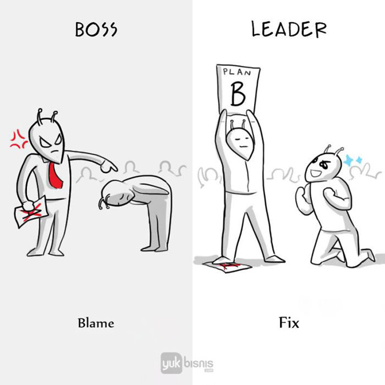Differences between a boss and a leader blame fix