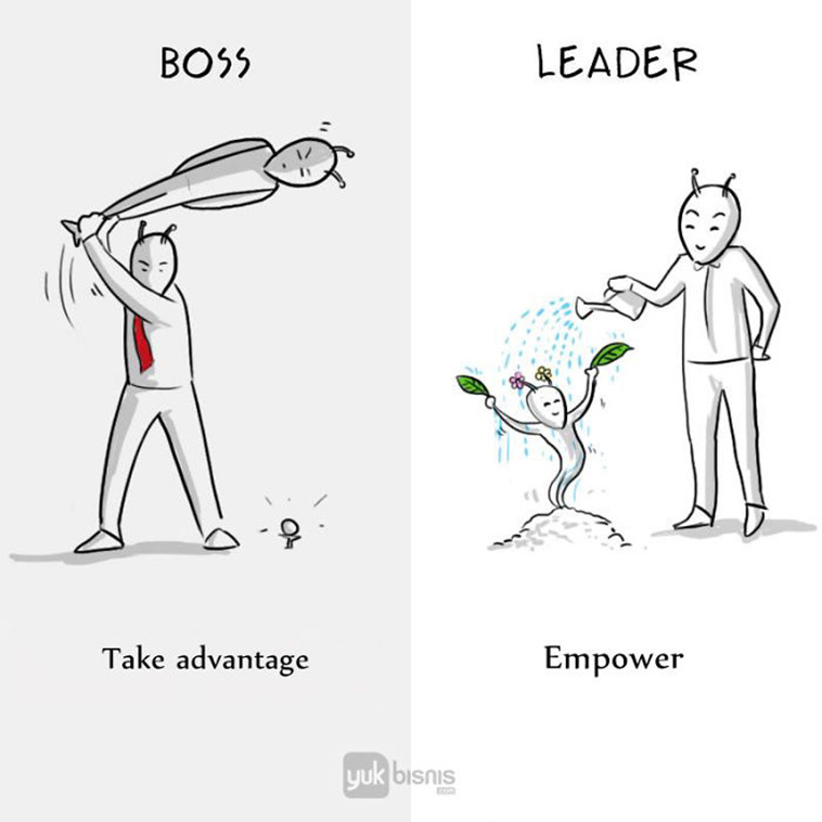 Differences boss vs leader take advantage empower
