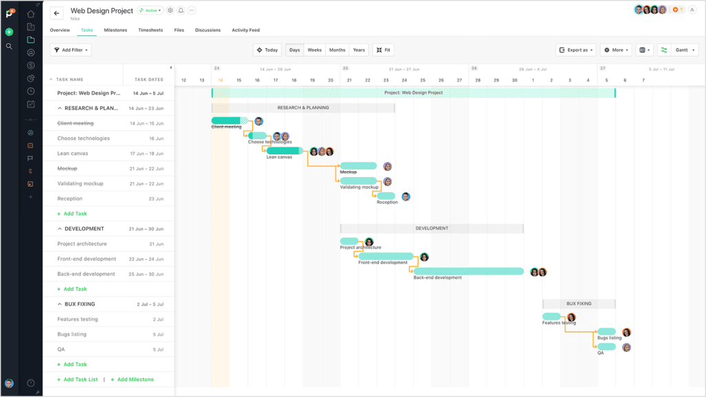 Paymo Gantt chart view